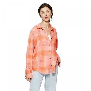 NWT Wild Fable Plaid Flannel Shirt XXL Orange